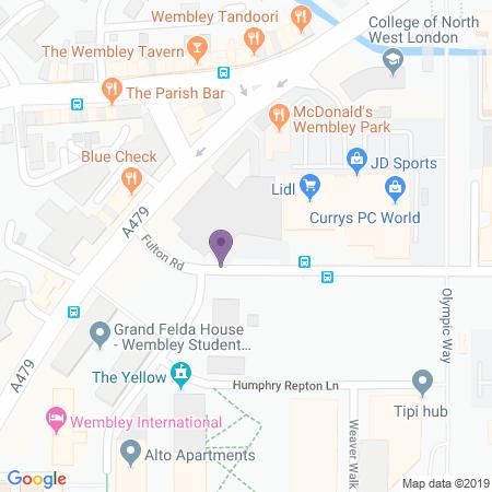 Locatie van Troubadour Theatre - Wembley