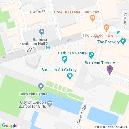 Locatie van Barbican Theatre