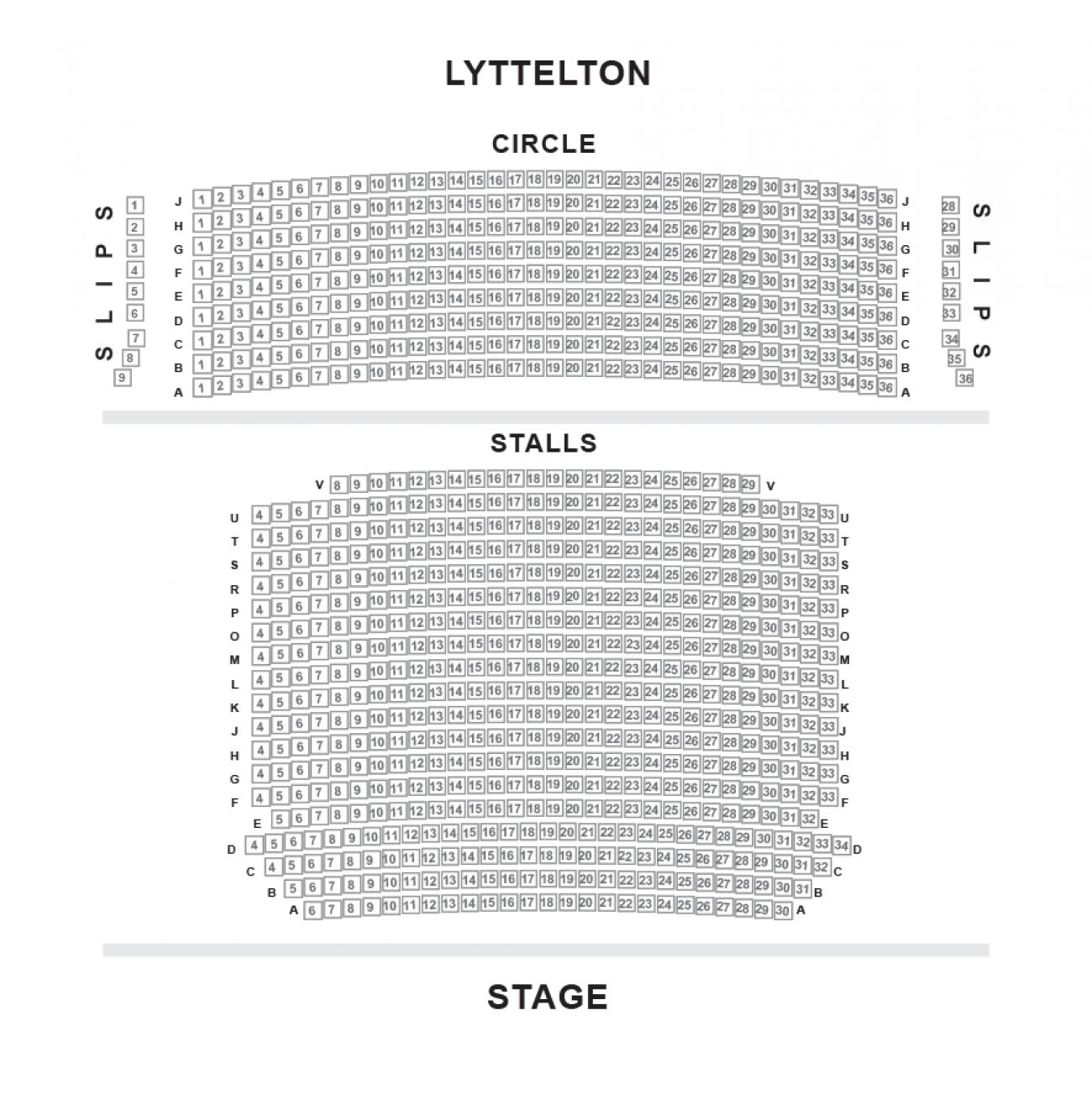 Lyttelton - National Theatre Zaalplan